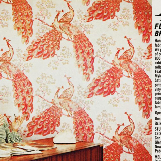 Florence Broadhurst, peacock wallpaper, office