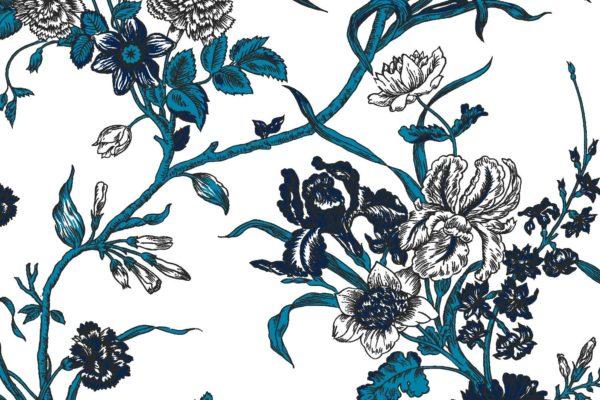 Carnation, ink, Florence Broadhurst fabric