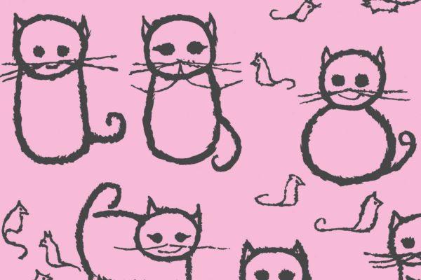 Cats, candy floss, Florence Broadhurst fabric, kids fabrics