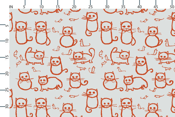 Cats fabric design scale, inches