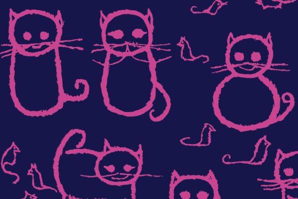 Cats, indigo, Florence Broadhurst fabric, kids fabrics
