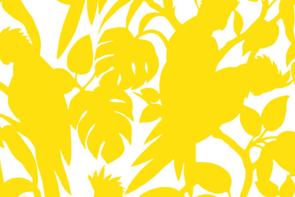 Cockatoos, canary, Florence Broadhurst fabric
