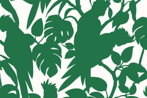 Cockatoos, grasshopper, Florence Broadhurst fabric