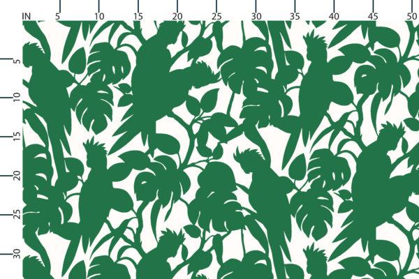 Cockatoos fabric design scale, inches