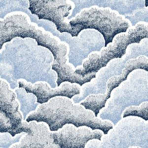 Halftone Clouds, denim, Florence Broadhurst fabric