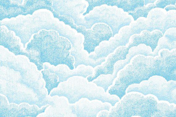 Halftone Clouds, fresh, Florence Broadhurst fabric