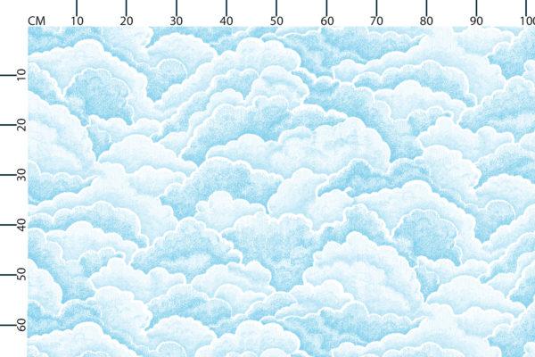 Halftone clouds fabric design scale, centimetres