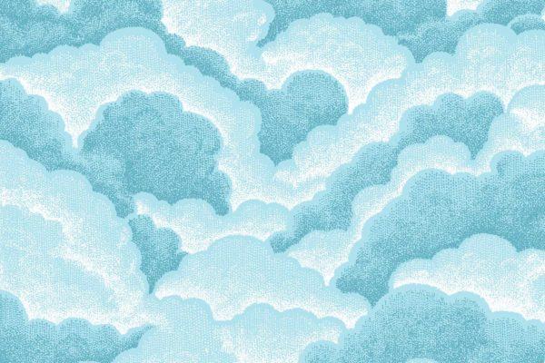 Halftone Clouds, sky, Florence Broadhurst fabric