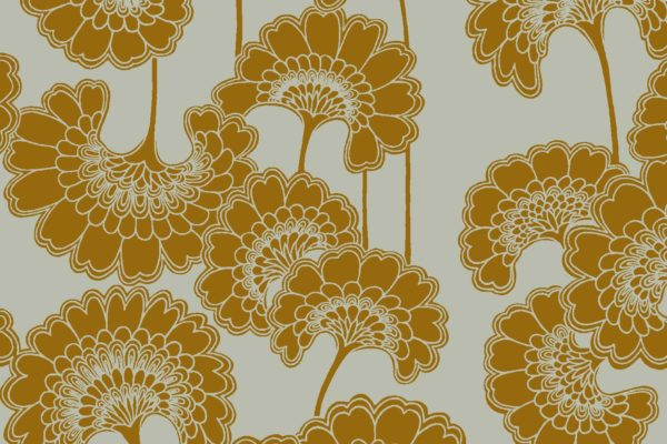 Japanese Floral, old gold, Florence Broadhurst fabric