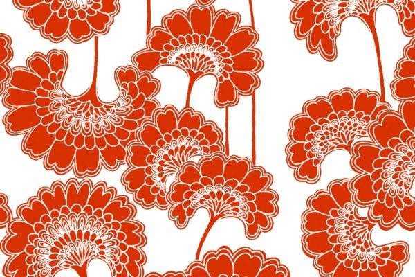Japanese Floral, tomato, Florence Broadhurst fabric