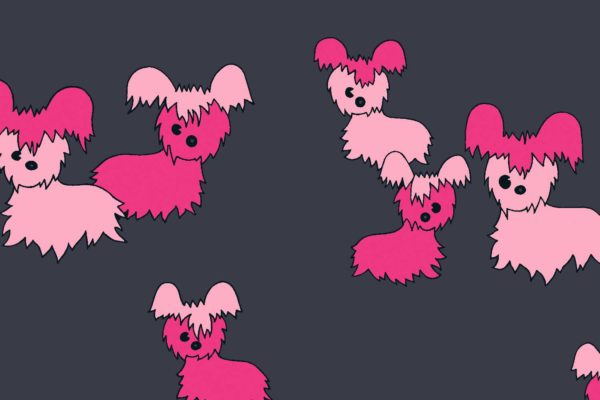 Pups, lollypop, Florence Broadhurst fabric