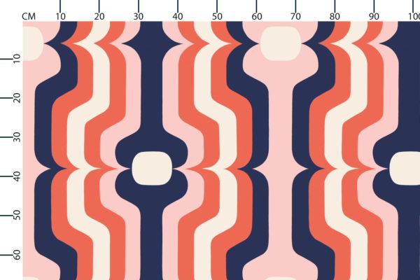 Swedish Stripe fabric design scale, centimetres