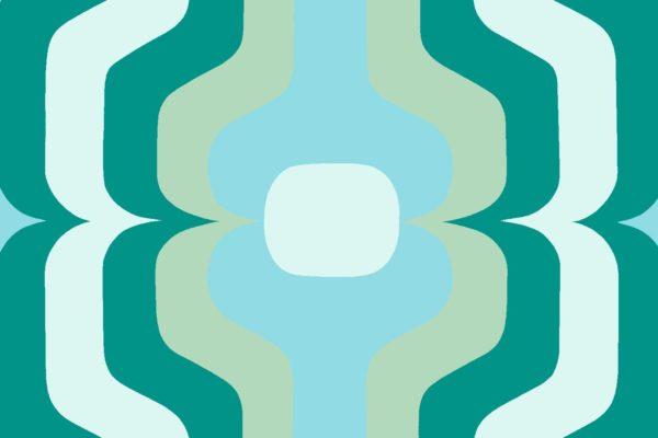 Swedish Stripe, ocean tide, Florence Broadhurst fabric