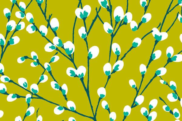 Innocence fabric, Lime, Florence Broadhurst Fabrics