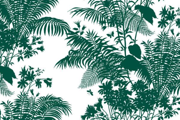 Shadow Floral fabric, emerald, Florence Broadhurst Fabrics