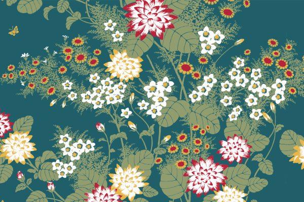 Chinese Floral Dusky Blue, Textiles