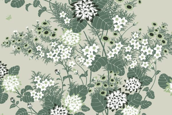 Chinese Floral Fern, Textiles