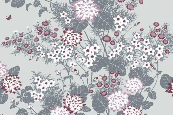 Chinese Floral Mauve, Textiles