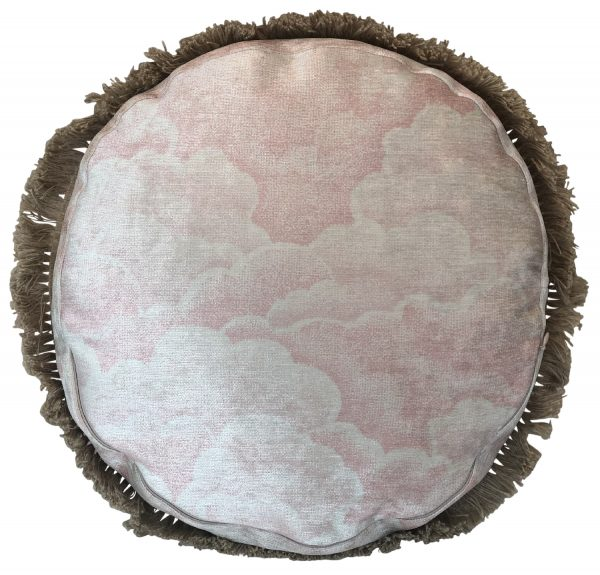 Halftone Clouds Rose Circle Cushion