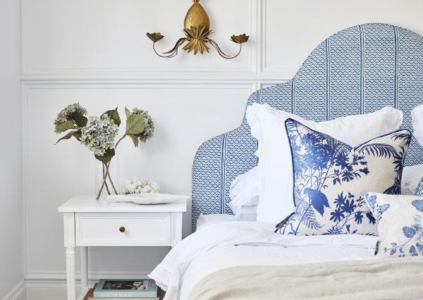 Master bedroom, bedhead fabric, Florence Broadhurst, Three Birds Renovations