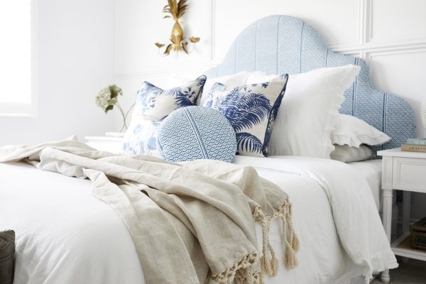Bedhead fabric and cushions, Florence Broadhurst, Three Birds Renovations