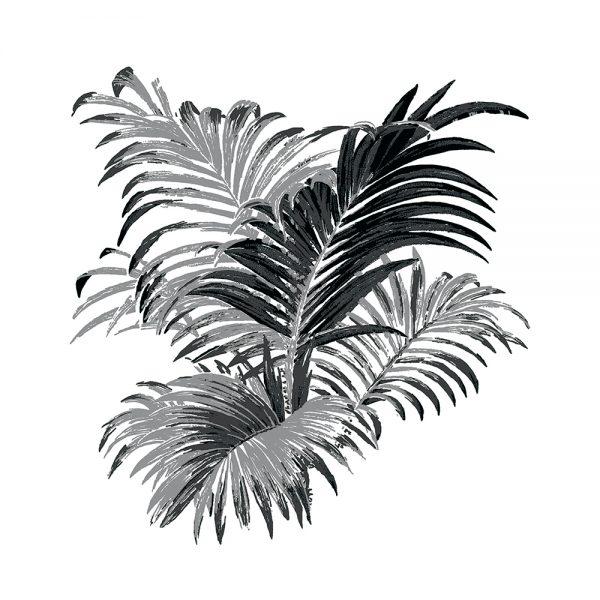 4 Colour Palm, Pewter, framed canvas art