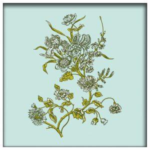 Florence Broadhurst Carnation, Olive Springs, canvas art white frame
