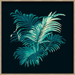 4 Colour Palm, Teal, oak frame, square